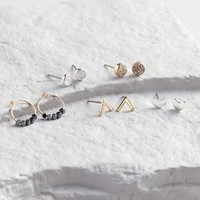 Gold and Silver Earrings Set of 4