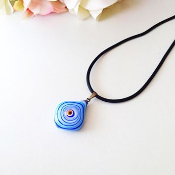 Murano glass evil eye pendant - lampwork evil eye bead - blue evil eye nazar pendant - turkish greek evil eye - lampwork jewelry supplies