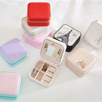 Jewelry Storage Box Fashion Beauty Cosmetic Makeup Organizer Container Exquisite Lipstick Women's Ring Necklace Earring Casket