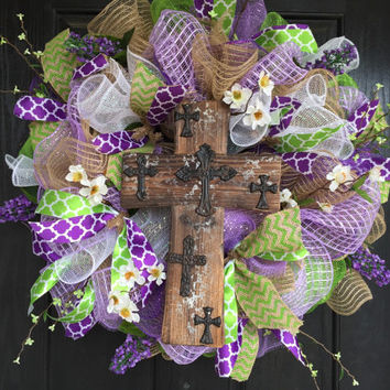 Easter Deco Mesh Wreath, Easter Mesh wreath, Easter Burlap Wreath, Easter decor, Spring deco mesh wreath, Easter weeath, Cross wreath