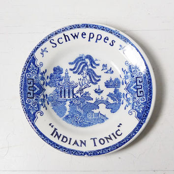 French Vintage Bowl Cobalt Blue White Ceramic Dish Schweppes Indian Tonic Collectible Luneville Chinese Decor Coin Jewelry Holder Signed