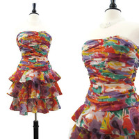 80s 90s Dress Vintage Strapless Floral Silk Ruffled Mini Cocktail Party S