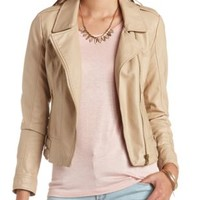 Belted Waist Faux Leather Moto Jacket by Charlotte Russe - Sand