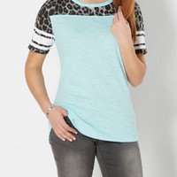 Leopard Color Blocked Gridiron Tee | Short Sleeve | rue21
