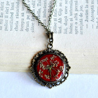 Spanish Red Real Flower Necklace Dark Red Resin Round Pendant Brass Chain Necklace Resin Botanical Jewelry