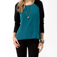 High-Low Raglan Sleeve Top
