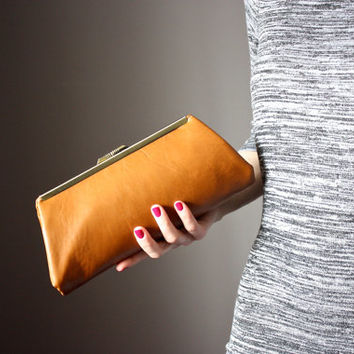 Leather clutch - leather clutch purse - frame clutch - frame purse - Lamb skin clutch in Tan / Cognac