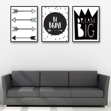 Cartoon Arrow Letter Art Canvas Poster Painting Black White Background Minimalist Modern Decor Picture No Frame Free Shipping