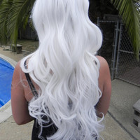 HALLOWEEN SALE Ice White / Long Curly Layered Wig Mermaid Hair with Natural Scalp Piece