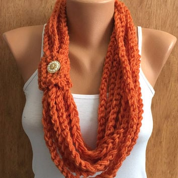 fall orange hand crochet chain Infinity scarf - necklace scarf gift or for you