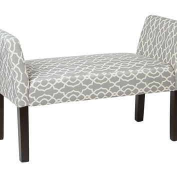 Ave Six Kelsey Bench with Dark Espresso Legs and Abby Geo Grey Fabric