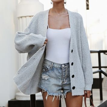 Button-Down Vintage Long-sleeve Cardigan Sweater