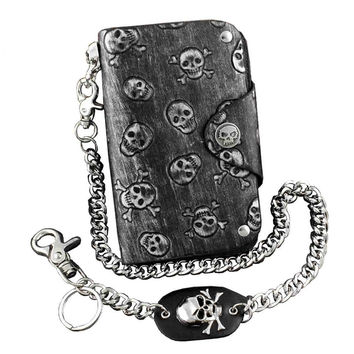 Gothic Punk Skulls Leather Wallet With Anti Chief Jeans Key Chain