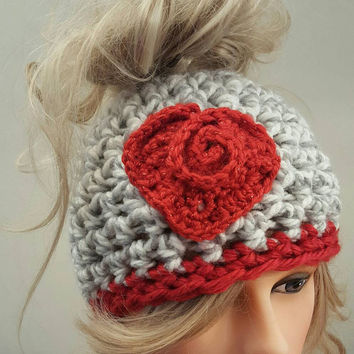 Crochet Valentine bun hat. Made by Bead Gs on ETSY.  Ladies Size.