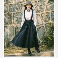 Thick Removable Straps Corduroy Skirt