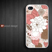 iphone 4 case iphone 4s case iphone 4 cover red white illustrator  flower graphic design printing