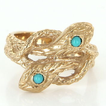 Vintage Double Snake Serpernt Turquoise Ring 14 Karat Yellow Gold Estate Fine Jewelry