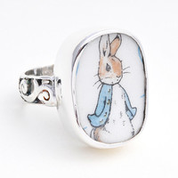 Size 7 Broken China Jewelry Beatrix Potter Peter Rabbit Blue Jacket Sterling Ring