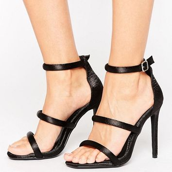 Missguided Satin Multi Strap Heeled Sandal at asos.com