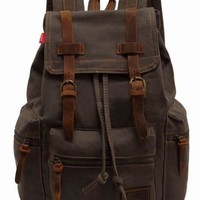 EcoCity Vintage Canvas Backpack Rucksack Casual Daypacks (Army green)
