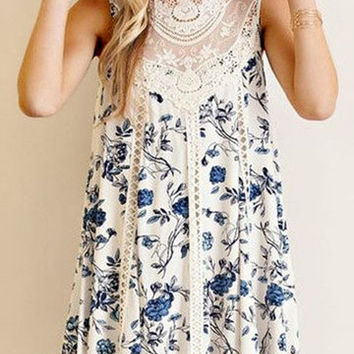 White Sleeveless Floral Print Lace Details Lace Insert Swing Dress