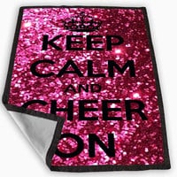 Keep Calm and Cheer On Cheerleading Blanket for Kids Blanket, Fleece Blanket Cute and Awesome Blanket for your bedding, Blanket fleece *