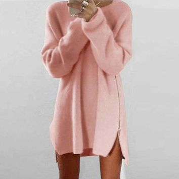 2018 Autumn Women Sweater Dress Plus Size Long Sweater Women Pullover Warm  Zipper Female Women Oversize Knitted Sweater Dress