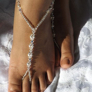 Swarovski Barefoot Sandal Beach Wedding Jewelry Anklet Wedding Foot Jewelry Beach Sandals Bridesmaids Gift