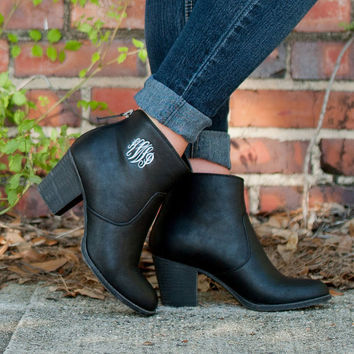 CUSTOM Monogram Black Ashlyn Boots -- Great for Fall and makes the PERFECT gift!!
