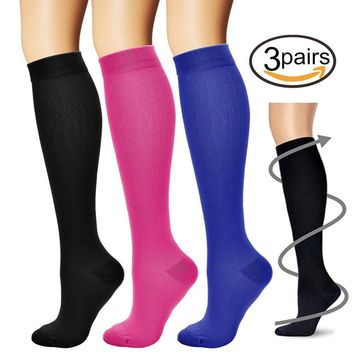 BLUETREE Compression Socks,(3 pairs) Compression Sock for Women & Men - Best For Running, Athletic Sports, Crossfit, Flight Travel