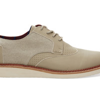 TOMS Taupe Leather Washed Canvas Men's Brogues Natural