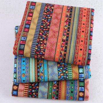 Nanchuang 3Pcs Ethnic Printed Cotton Linen Fabric For Decorative Bedding Sofa Dress Cushion Tablecloth Curtains Material 45x45cm
