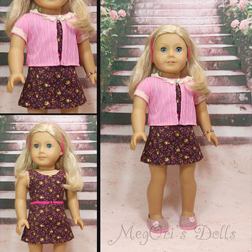 American Girl Doll Sheath Dress set includes cardigan, headband, belt,and bracelet
