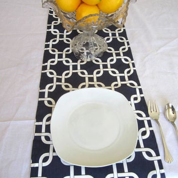 Nautical Geometric Navy Blue white  Table Runner  cotton 72 inch Wedding Party Patriotic