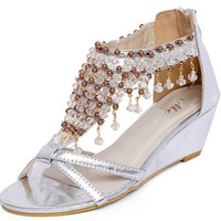 Crystal Wedge Sandals for Women