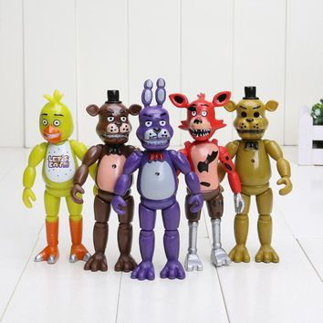 New 5 Pcs/set  At  Action Figure Toys Anime Doll Foxy Freddy Chica Freddy PVC Model Dolls For Kids Gift