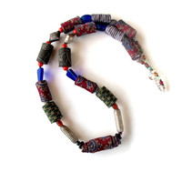 Oriental necktie fiber necklace in deep burgundy paisley silk, olive and blue