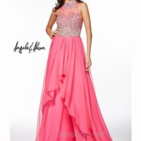Jeweled High Neckline Angela & Alison Formal Prom Gown 51046