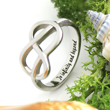 """Infinity Ring -  Promise Ring Engraved on Inside with """"To Infinity and Beyond"""", Sizes 6 to 9"""