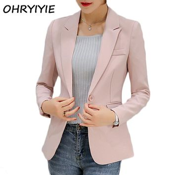 OHRYIYIE 2017 New Arrivals Women Blazer And Jacket Ladies Business Office Suit Jackets Female Pink Gray Blazer Femme Tops WB264