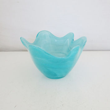 Vintage Glass Bowl Art Glass Bowl Turquoise Glass Bowl Glass Art Candy Dish Blue Mid Century Glass Bowl Unique Nut Dish Gift for Her