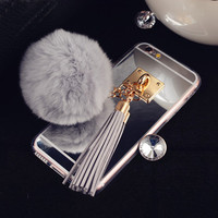 Luxury Rabbit Hair Ball Tassel  Cases