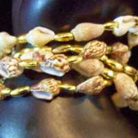 Small Bracelet  Delicate Shell and Bead Recycled Vintage Five Strands