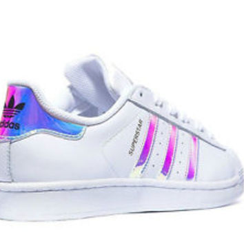 Adidas Superstar (GS)White Metal Silver Juniors Women s Girls Boys Trainers 082720126d