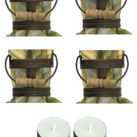 Park Design 23-701 Antique Bucket Napkin Rings Set of 6 with 6-Pack of Tea Candles