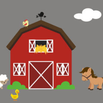 Farm Animal Decals Nursery Room Farm Decals Barn Wall Decal H & Best Farm Room Products on Wanelo