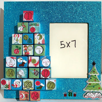 Christmas Picture Frame - Advent Calendar - Christmas Decorations - Holiday Photo Frame - Personalized