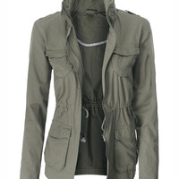 Azkara Womens Cotton Military Anorak Jacket with Hidden Hoodie