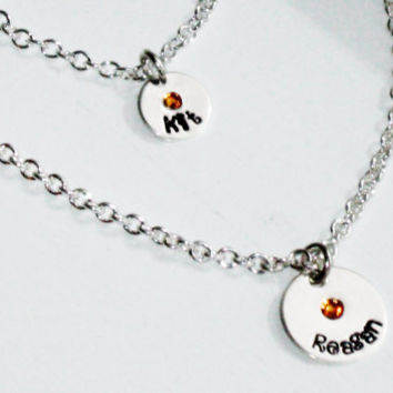 "American Girl Hand Stamped Personalized Charm Necklace SET for Child & her American Girl Doll, or 18"" doll"