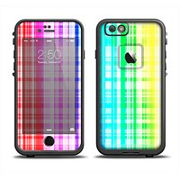 The Bright Rainbow Plaid Pattern Apple iPhone 6/6s LifeProof Fre Case Skin Set